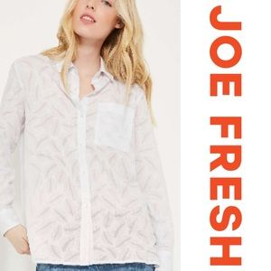 Joe Fresh Burnout Shirt White Button down